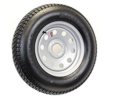 Trailer Tire On Rim ST205/75D15 F78-15 205/75-15 LRC 5 Lug Wheel Silver Mod