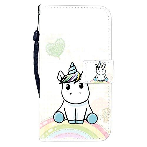 Sunrive Hülle Für HTC One M9 Plus, Magnetisch Schaltfläche Ledertasche Schutzhülle Etui Leder Hülle Cover Handyhülle Tasche Schalen Lederhülle MEHRWEG(W8 Einhorn 1)