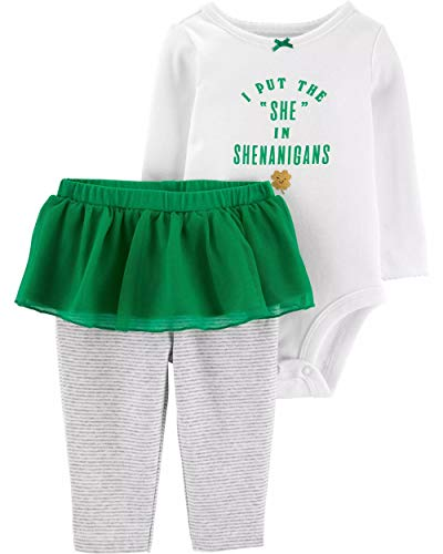 Carter's Baby Girls' 2-Piece St. Patrick's Day Bodysuit & Tutu Pant Set (9 Months, Ivory/Green)