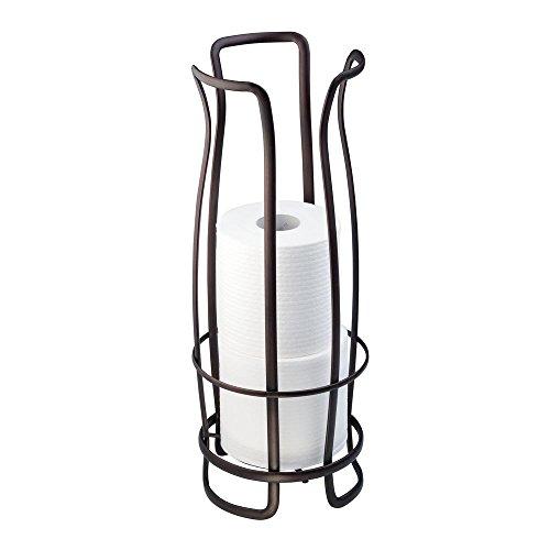 iDesign Axis Toilettenpapierhalter, freistehender WC Rollenhalter für Reserverollen, rostfreier Klorollenhalter für 3 Ersatzrollen, Metall bronze