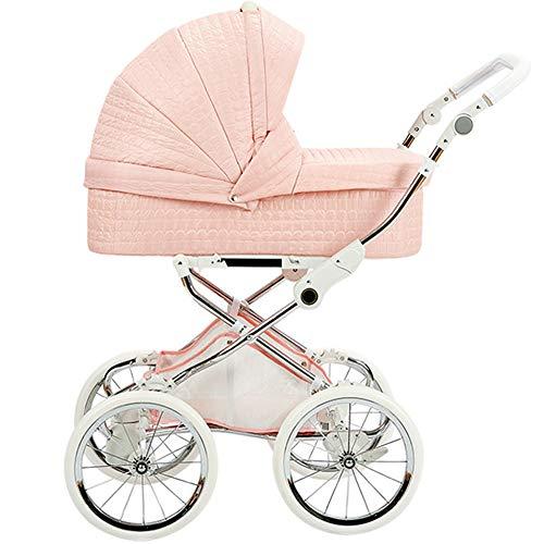 2 in 1 Kinderwagen, Baby Buggy ab Geburt bis 36 Monate, Luxus Kombikinderwagen Reisesysteme mit übergroßem 16-Zoll-Classic-Retro-Rad, X-förmigem Stromlinienförmigem Rahmendesign, UPF 50+ Large Hood
