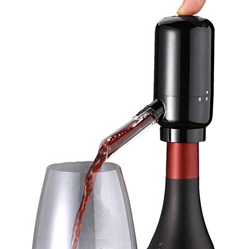 Eléctrico Aireador Vino, Vino Dispensador Bomba, Automático Vino Vertedor,One-Touch Vino Cartel Oxidizer con Retráctil Tubo, Portátil Y Recargable USB, (Pilas No Incluidas) - Negro, Batteries Charge