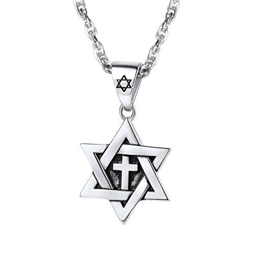 PROSTEEL Herren Damen Halskette Kreuz in Davidstern Anhänger mit 60cm Kette Edelsthal Jüdischen Hexagramm Kettenanhänger, Silber