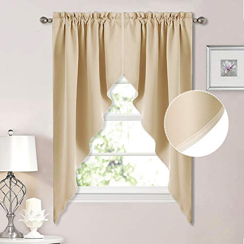 NICETOWN Room Darkening Pole Pocket Kitchen Tier Curtains- Tailored Scalloped Valance/Swags for Nursery for Basement (Biscotti Beige, 2 Pieces, 72 inches Wide Combined, 63 inches Long)