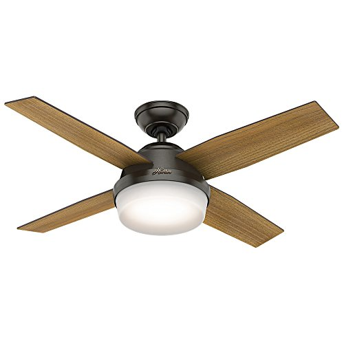 "Hunter Dempsey Indoor Ceiling Fan with LED Light and Remote Control, 44"", Noble Bronze"