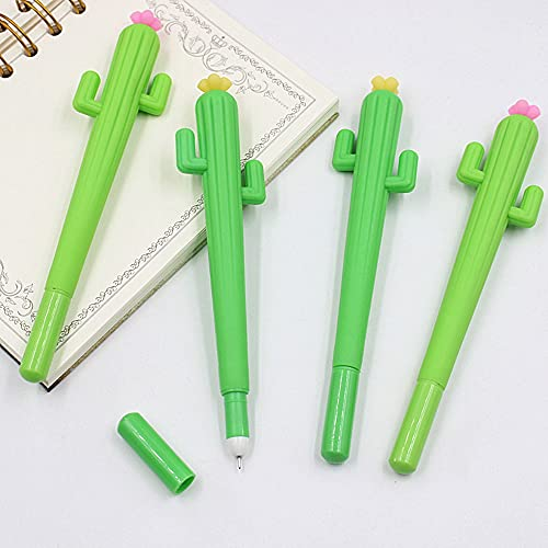 10 bolígrafos de tinta de gel de cactus/alce, 0,5 mm Kawaii, lindos bolígrafos neutros en forma de bolígrafo para la escuela, el hogar y la oficina