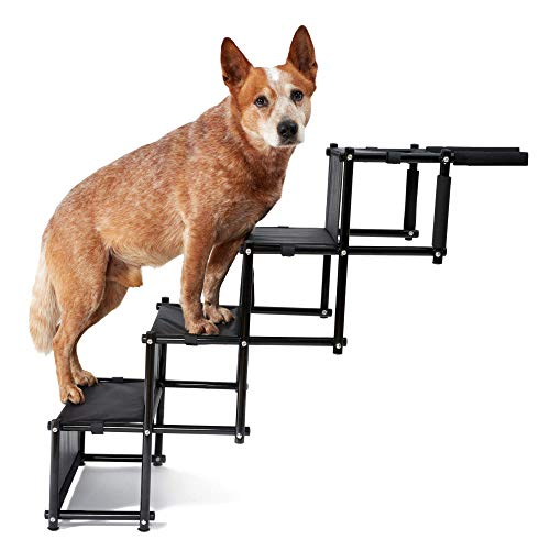PiuPet® Universal Hundetreppe für große und kleine Hunde - bis 75 kg belastbar - für alle Fahrzeuge nutzbar - Hunderampe klappbar