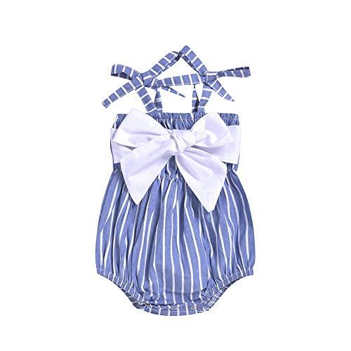 Gyratedream Baby Pasgeboren Meisjes Vierkante Kraag Boog Ontwerp Jumpsuit Mouwloos Streep Print Baby Bodysuit Outfits(0-24 Maanden)