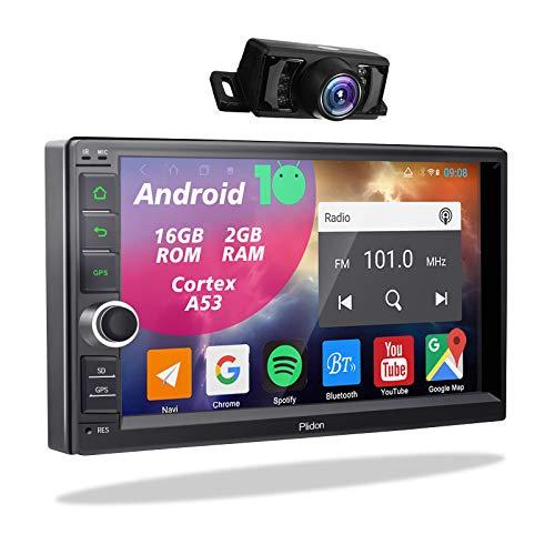 2din Android Autoradio mit Rückfahrkamera,Doppel Din Display Radio mit Navi Bluetooth Freisprecheinrichtung 2 Din Moniceiver 7 Zoll Bildschirm GPS Navigation Unterstützt FM/AM WiFi USB TF Mirrorlink