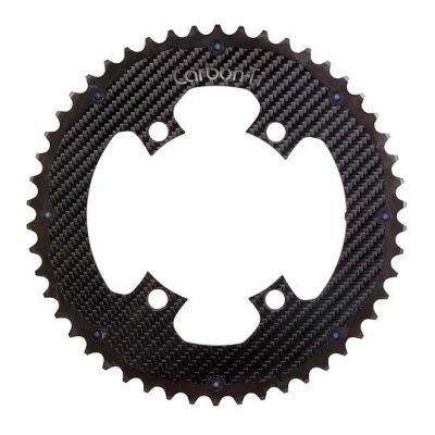 (CarbonTi/カーボンチ)(自転車用チェーンリング関連)チェ-ンリング (4アーム110/53T) アルミ(ブラック)/カーボン