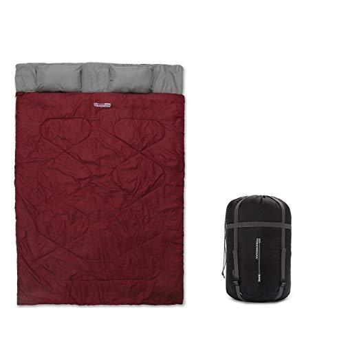 Lumaland Where Tomorrow Saco de Dormir Doble Saco de Dormir para 2 Personas 220 x 150 cm Rojo Burdeos