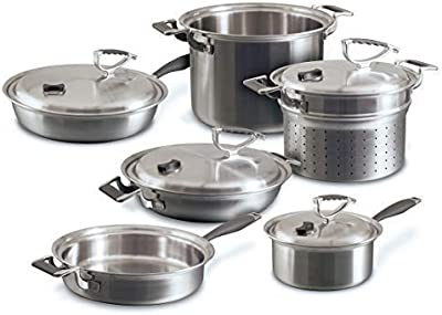 CookCraft | Stainless Steel 3-Ply Bonded Cookware Set, 10-Piece, Silver Clad Aluminum Core with Vented Latch Lid
