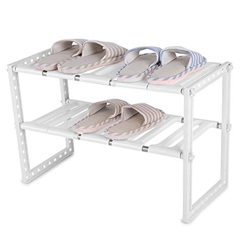 Review Aeloa Telescopic Stand, Storage Shelf Space-Save Cupboard Extending Extra for Home (White)