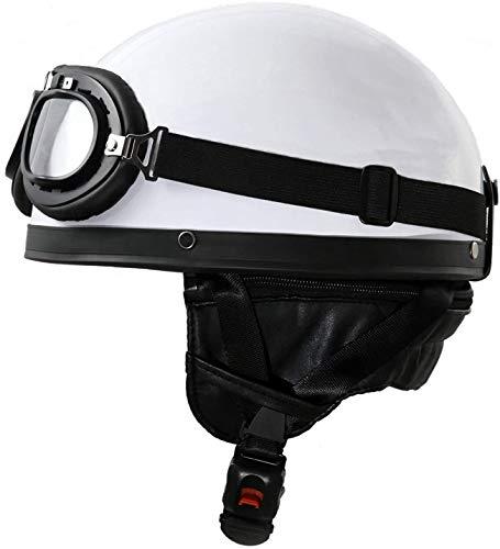 LWAJ Abierto Jet Casco Vintage, Motocicleta Medio Casco Abierto Cara con Visera Moto Scooter Crucero Seguridad - Negro para Adultos Mujer y Hombre Retro Scooter Motocicleta Helmet