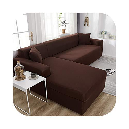 HCIUUI L Shape 2 Stück Sofa Cover Solid Color Corner Sofa Cover für Living Room Elastic Spandex Couch Cover Stretch Slipcovers-Deep Coffee-3-Sitzer und 4-Sitzer