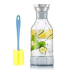 WOQO Jarras de Cristal, jarra de vidrio para jugo caliente / frío, té, leche y café, con elegante posavasos y cepillo de silicona, jarra de agua de vidrio (60 oz / 1.7L)
