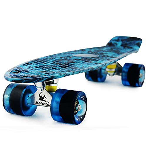Skateboard Dog 22 inch Retro Mini Skateboards Kids Board for Boys Girl Youth Beginners Children Toddler Teenagers Adults 5 to 6 Year Old (Blue Flame)