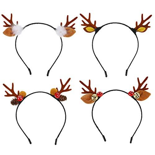 Amosfun 4 pezzi di cerchietto natalizio con renna di peluche con campana per Natale, vacanze, bambini, feste preferite, colori assortiti