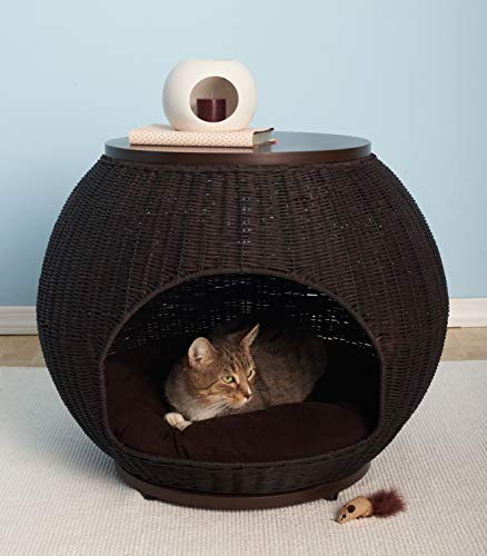 The Refined Canine Igloo Deluxe Pet Bed, Durable Poly Faux Rattan Bed, End Table, for Cat and Dogs with Soft Cushion, Espresso (IGL-FR-DX-ES-AMZ)