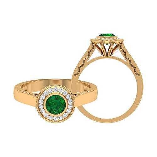 Anillo solitario de 5,00 mm de esmeralda, anillo de compromiso con halo de diamante HI-SI, anillo de compromiso, bisel de oro (calidad AAA), 14K Oro amarillo, Size:EU 56