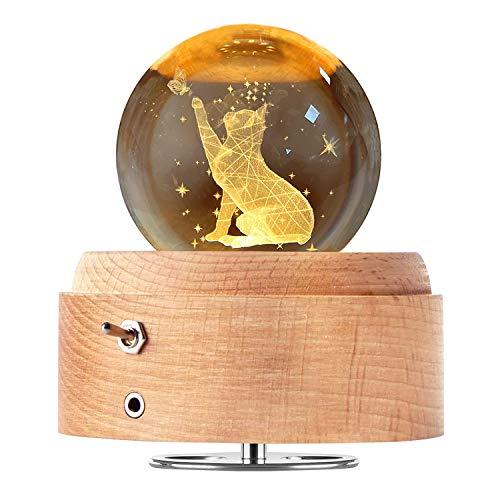 DUTISON Kristallkugel Spieluhr, 360° Rotierende hölzerne Spieluhr mit Licht, Beleuchtete Projektionsfunktion, Geschenk für Weihnachten, Erntedankfest, Geburtstag, Valentinstag, Muttertag