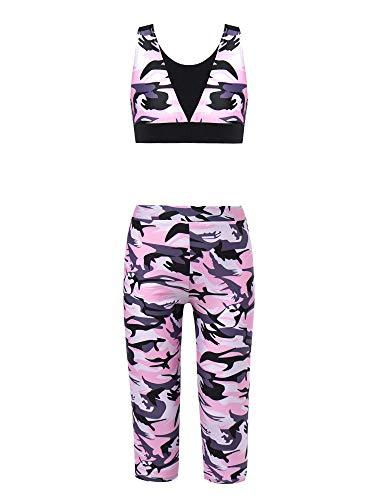 iiniim Mädchen Trainingsanzug Tank Tops Ärmellos Shirt mit Kurze Hose Tights Leggings Sportanzug Fitness Yoga Tanzen Sportkleidung Camouflage Rosa X 152-164