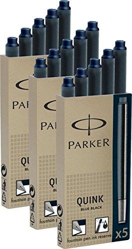 Parker Tintenpatronen Quink 3 Packungen mit gesamt 15 Stück, blau (15er Pack, blau-schwarz, 1)