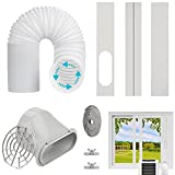 """Estoder Portable AC Window Vent Kit with 5.9"""" Exhaust Hose (Length Up to 78.7""""), Adjustable Window Seal for Portable Air Conditioner, Universal AC Seal Plate with Coupler for Sliding Window or Door"""