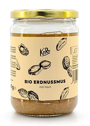 KoRo - Bio Erdnussmus mit Haut 500 g - Besonders intensiv - Zu 100 {b31bf07804e28cc0b975b6bd538cbd0e2b693fbb31ca8d810e563e5bbe5f9d92} aus gerösteten Erdnüssen - Ohne zugesetzten Zucker