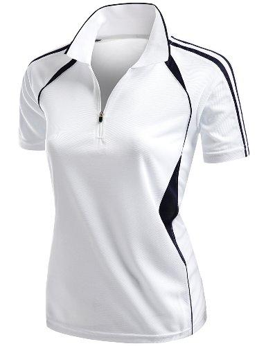 Coolmax 2 Tone Collar Zipup Polo T-Shirt White M