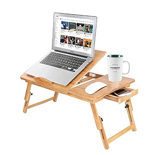 Zipom 100% Portable Bamboo Laptop Stand Foldable Desk Notebook Table Laptop Bed Tray Bed Table, Flat Style design, play games on bed Table with Drawer (flat-21.5in)