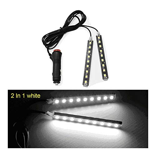 Interior del coche LED de luz decorativa Barra ambiente Pie lámpara con encendedor de cigarrillos de 12V Auto Accessorie 2 / 4pcs (Emitting Color : 2x9 led white)