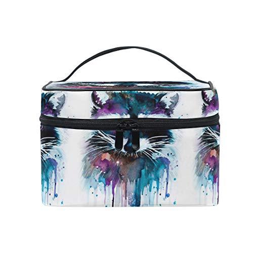 HaJie - Bolsa de maquillaje de gran capacidad, organizador de pintura artstica, mapache, animales, viaje, porttil, neceser, bolsa de almacenamiento, bolsa de lavado para mujeres y nias