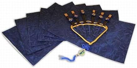 Beautiful Set Of Six Chopsticks & Silk Placemats DIN008