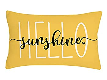 4TH Emotion Hello Sunshine Pillow Cover Farmhouse Yellow Spring Summer Decorations Cushion Case for Sofa Couch Polyester Linen 12x20 Inches