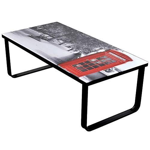 GOTOTOP - Mesa de centro rectangular con tapa de cristal de impresión de cabina telefónica, estructura de hierro estable para salón, cocina, dormitorio, 90 x 45 x 32 cm