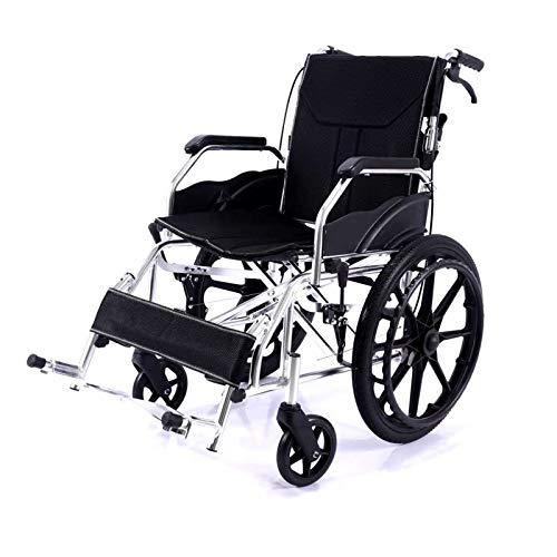 Unbne Trolleys portátiles para Las Personas Mayores Plegables para sillas de Ruedas Drive Medical Lightweight Acero Transporte Silla de Ruedas Anciana Discapacitada Scooter Luz Sillas de Ruedas,E
