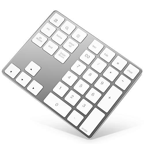Bluetooth Numeric Keypad, Rechargeable Aluminum 34-Key Number Pad Slim