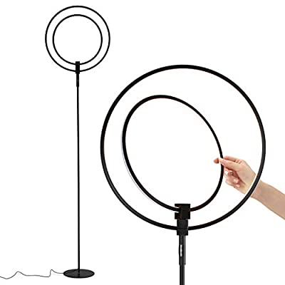 Brightech – Eclipse Torchiere LED Floor Lamp – Rings of Light Bring Sci-Fi Ambiance to Contemporary Spaces – 20 Watts – Dimmable Bright Light