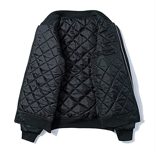 Japanese Spring/Winter Bomber Jacket Men Embroidered Thick Coat Padded Oversize Baseball Male Coats Winter Thick Padded XL (70-80kg)