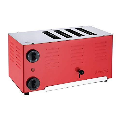Rowlett Regent DA223 Edelstahl Toaster mit 4 Schlitzen, 255 mm x 360 mm x 210 mm, Trafic Red