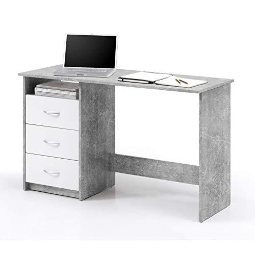 Möbel Akut Schreibtisch Adria Jugendzimmer Computertisch Bürotisch Betonoptik und weiß 120 x 50 cm