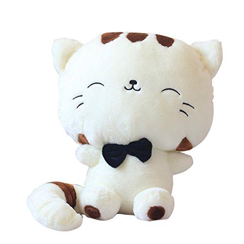 YunNasi 45cm Petit Jouet en Peluche Oreiller en Chat Adorable Chat Grand Visage et Queue Longue Doudou pour Enfants et Bébé Beige