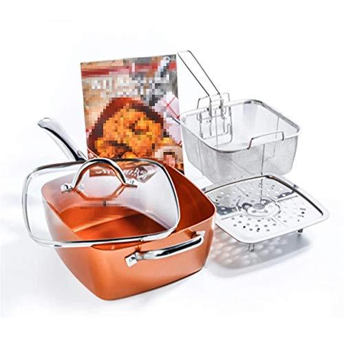 Chyuanhua Bratpfanne 4-teiliges Set Copper Square Bratpfanne Induktion for Chef Deckel Fry Basket Dampfzahnrad Geeignet für Küchentöpfe (Color : Brass, Size : 54x24x9.5cm)
