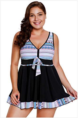 Liyuzhu Plus Size Costumi da Bagno for Le Donne Skirtini Low Cut Fashion Design con Cravatte Decorazioni Pattern Stampati Bikini Sexy a Vita Alta a Due Pezzi (Colore : Nero, Dimensione : XL)