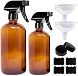 Empty Glass Spray Bottles 16 oz - Amber Spray Bottle for Cleaning Solutions - Refillable Container for Essential Oils - BPA Free - w/Mist and Stream Settings - w/Funnel Lables