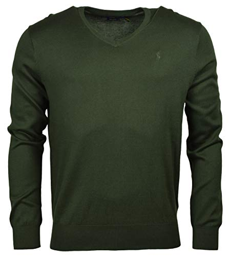 Polo Ralph Lauren Mens Pima Cotton V-Neck Sweater (Large, Green)