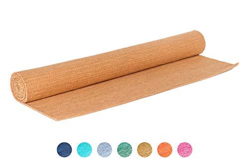 Elephant Yoga - Handgewebte Matte aus biologischer Baumwolle - Ideal für Ashtanga Yoga und andere Yogaarten … (Senffarben)