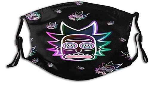 Bandanas Rick-Morty - Máscara facial con 2 filtros, reutilizable, lavable, pasamontañas, bufanda, tela transpirable, protección ajustable, tamaño para niños, niños, hombres, mujeres y adultos