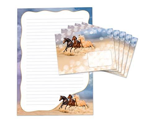 Briefblock mit Umschlag für Kinder drei Pferde Briefpapier-Set Pferd (Block A4 mit 25 Blätter + 15 Umschläge)